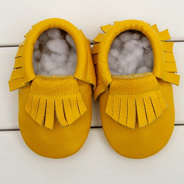 BBK Newborn baby shoes boy tassels moccasin genuine leather shoes soft bottom baby shoes girls sneaker kids 0-1 years 11 Color