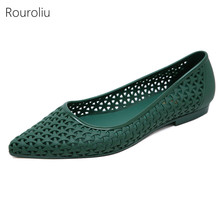 Rouroliu Women Summer Hollow Out Jelly Shoes Non-Slip Pointed Toe Beach Sandals Woman Shallow Casual Flats FR95 детская футболка классическая унисекс printio think outside the box