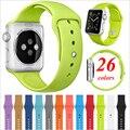 26 colores 4 tamaños de silicona de repuesto smart watch correa deporte banda para apple watch aw2ss