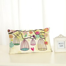 Fresh Style Cushion Covers Green Plant Home decoration 30x50 Decorative Beige Linen Pillow Case