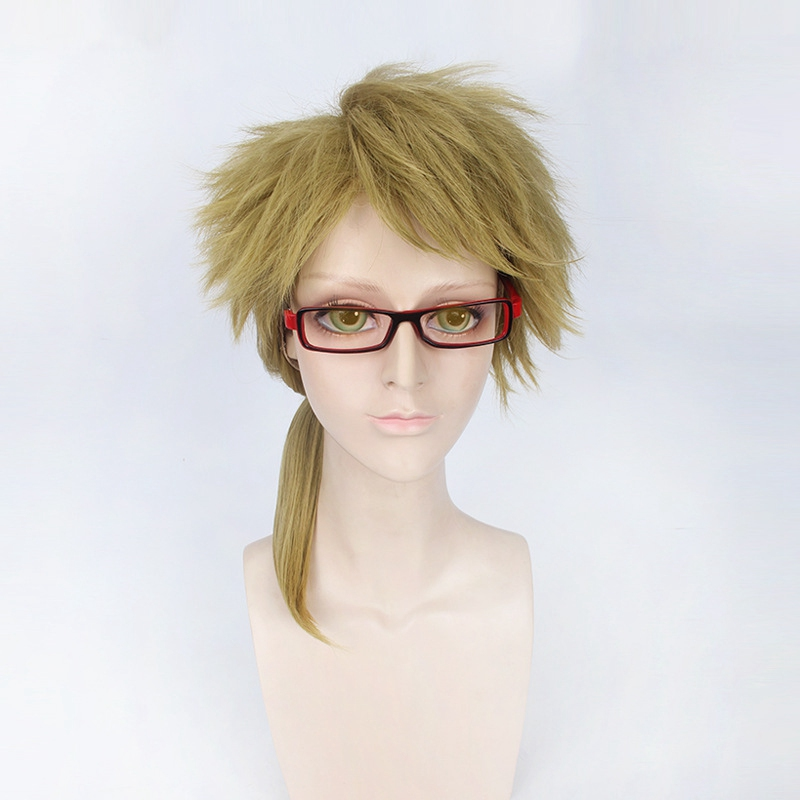 Bungo Stray Dogs Doppo Kunikida Wig Short Fluffy Straight Cosplay Wigs Light Brown Synthetic Hair Wig for Anime Party Ponytail in Anime Costumes from Novelty Special Use