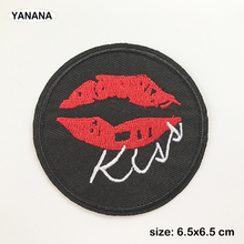 Kiss Red lips Iron On Embroidered Clothes Patches For Clothing Stickers Garment