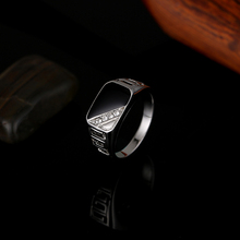 Fashion Male Jewelry Classic Gold Color Rhinestone Wedding Ring Black Enamel Rings For Men