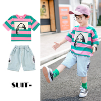 Kids Summer Clothes 2019 Striped Short Sleeve Tshirt + Jeans Pant Infant Boys Sets Child Tracksuit Outfits 2 3 4 7 8 9 10 Years