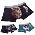 10 pcs/lot New 3D Print men boxers funny shorts men's cartoon animal underwear lion leopard cat dog shorts underpants