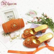 Свадебный комплект из туфель и сумочки, г., оранжевый цвет, хорошее качество, африканский нигерийский летний комплект из туфель и сумочки