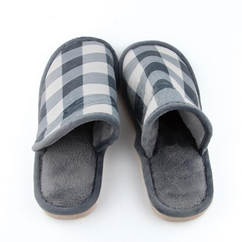 Moda Invierno Hombres Zapatos Cálido marrón Hombre Calidad Antideslizante Zapatillas Azul Espesar Plaid Interior Fleece Alta Casa PqPraX