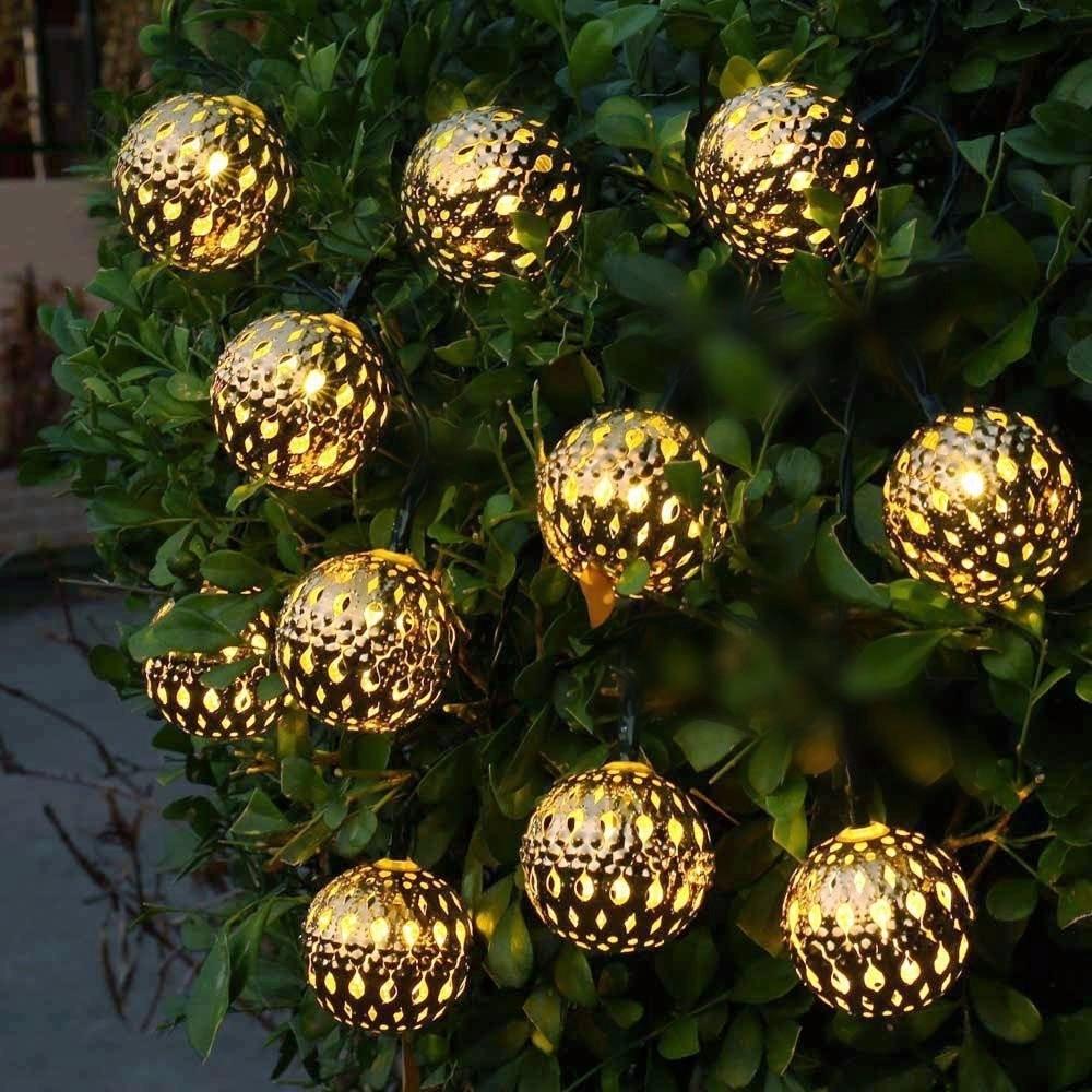 Waterproof 10 LED Solar Powered Fairy Light Moroccan Lantern Silver Metal Globe String Lights Lamp For