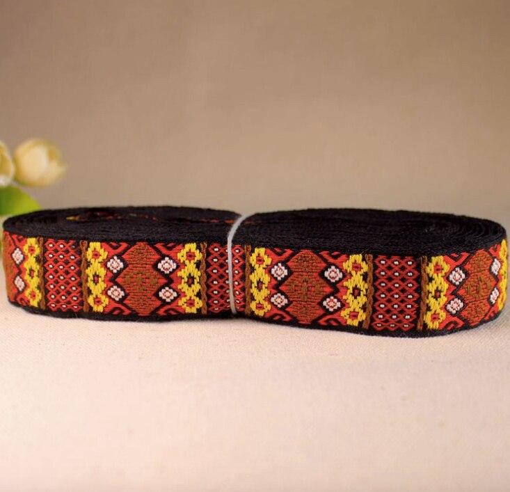 Inheemse Borduurwerk Etnische Jacquard Singels Geweven Tape Kant Lint 2.5 Cm Kledingstuk Jean Accessoire Decoratie Tribal Boho Gypsy Miao