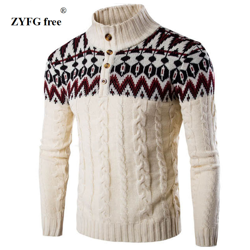 ZYFG free Winter Thick Warm Cashmere Sweater Men stand neck Mens Sweaters Slim Fit Pullover Men Classic Wool Knitwear Pull Homme