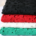 Brand Water Soluble Hollow Milk Silk Lace Fabric 4 color African Cord Lace Embroidered Heavy Guipure Lace Clothing Accessories