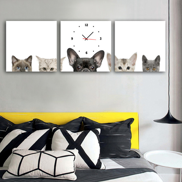Free Shipping Art Print Cats And Dogs Clock in Canvas 3pcs wall clock