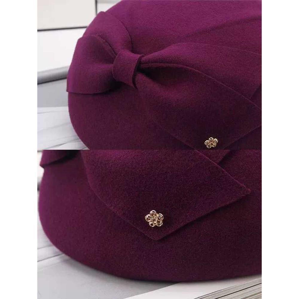 Image 4 - 2019 Elegant Wool bow Fedora Hats Lady British Style Soft Felt Cap Women Wedding Party Hat Vintage Cocktail Fashion Derby FedoraWomens Fedoras   -