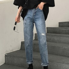 цена Spring Autumn Women Boyfriend Jeans Worn Side Pocket Decoration High Waisted Female Denim Pants Loose Blue Ladies Vintage Jeans в интернет-магазинах