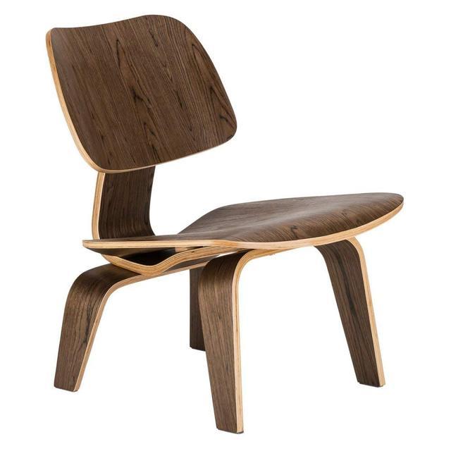Moderno Compensato Lounge Chair In Legno di Noce Naturale Basso ...