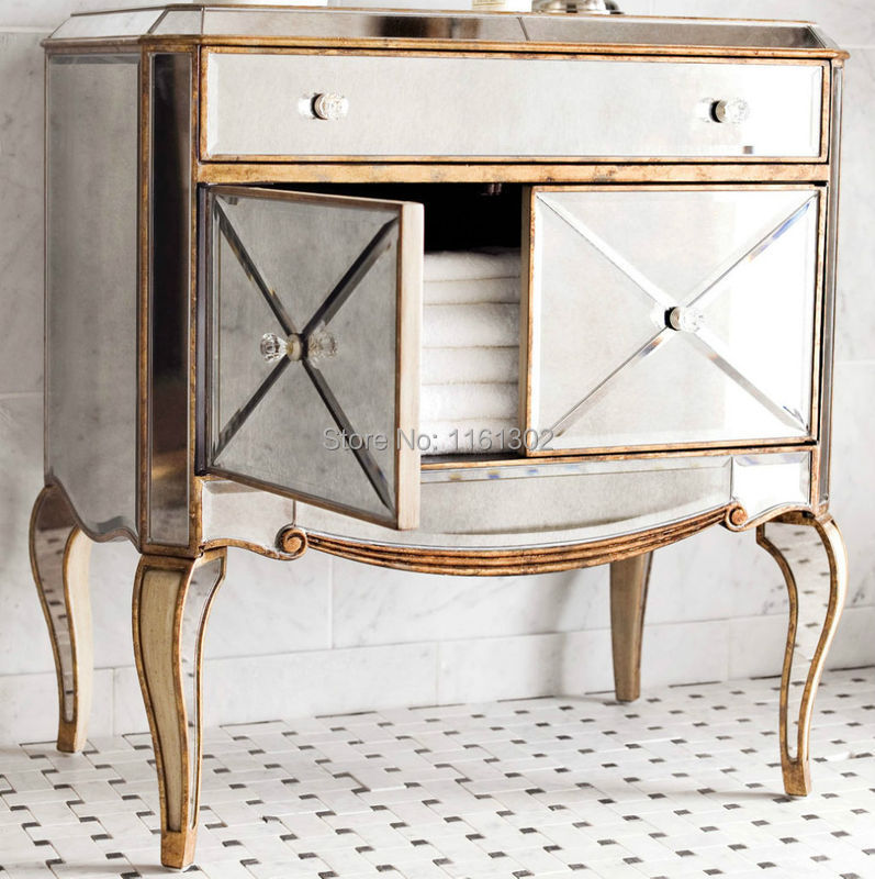 MR 401115 Antique Gold Rimming Mirrored Chest For Bedroom Furniture