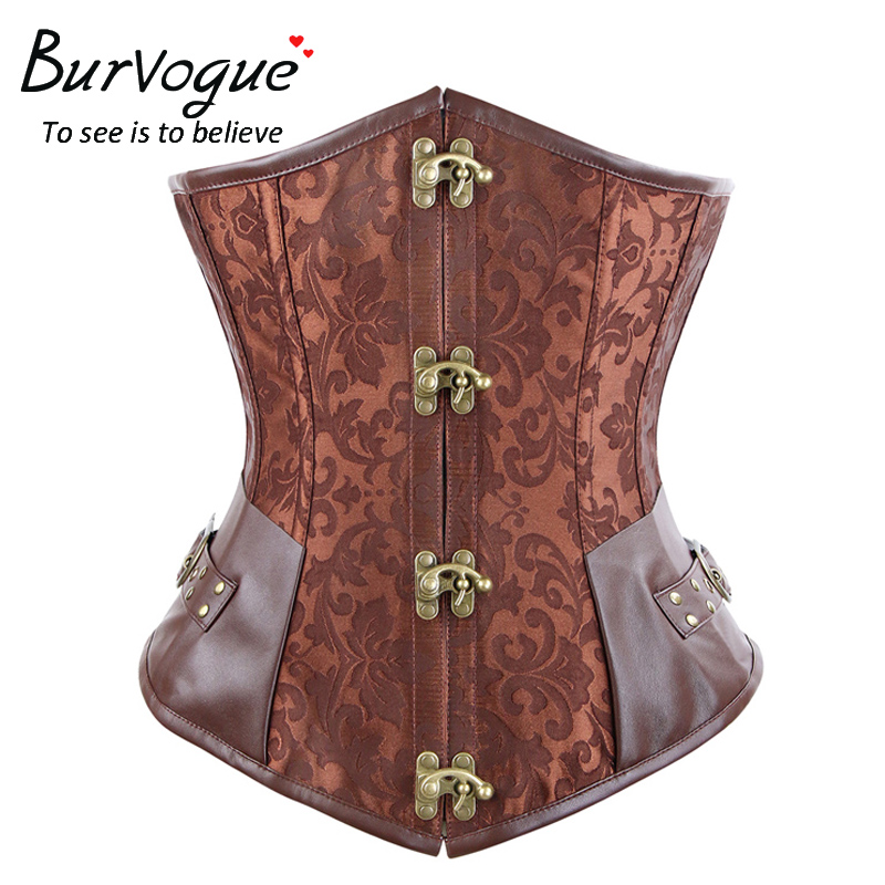 Burvogue Acier Steampunk Corset Brun Noir Os Underbust Corsets Dobby Corselets Sexy Taille Mince Bustiers Serre-Taille corset