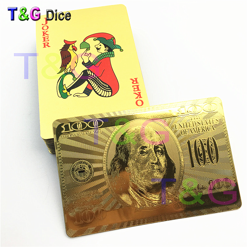 54pcs/set Highly Flexible/Durable Gold Foil Plastic Golden Plated 24K Playing Poker Cards for Table Game/Deck Carta de Baralho