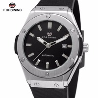 Top Brand FORSINING Men S Automatic Mechanical Watches 3D Design Calendar Display Rubber Strap Sport Wrist