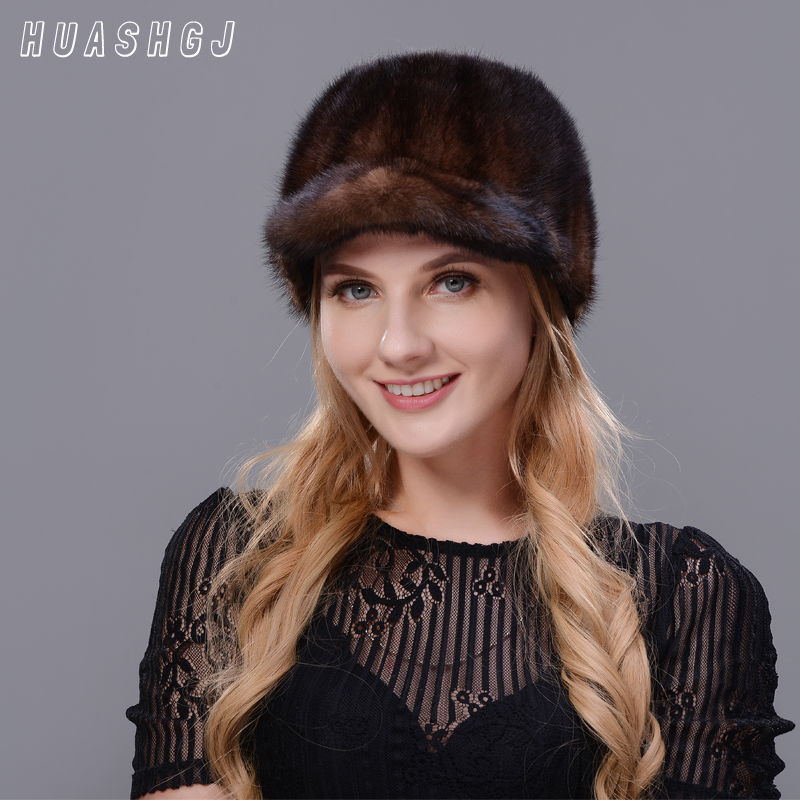 HUASHGJ Women Horseman Hat Black 2018 Winter Elegant Ladies Fashion Brown Cap Leather Solid Skullies Beanies High Quality H001