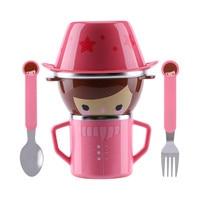 Infant Food Bowl Cup Feeding Dinner Fork Spoon For CHildren Kids Bowl Cartoon Child Plate Tableware
