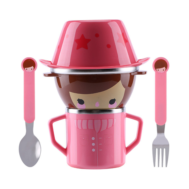Infant Food Bowl Cup Feeding Dinner Fork Spoon For CHildren Kids Bowl Cartoon Child Plate Tableware Dishware Dinnerware Set