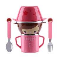 Infant Food Bowl Cup Feeding Dinner Fork Spoon For CHildren Kids Bowl Cartoon Child Plate Tableware Dishware Dinnerware Set