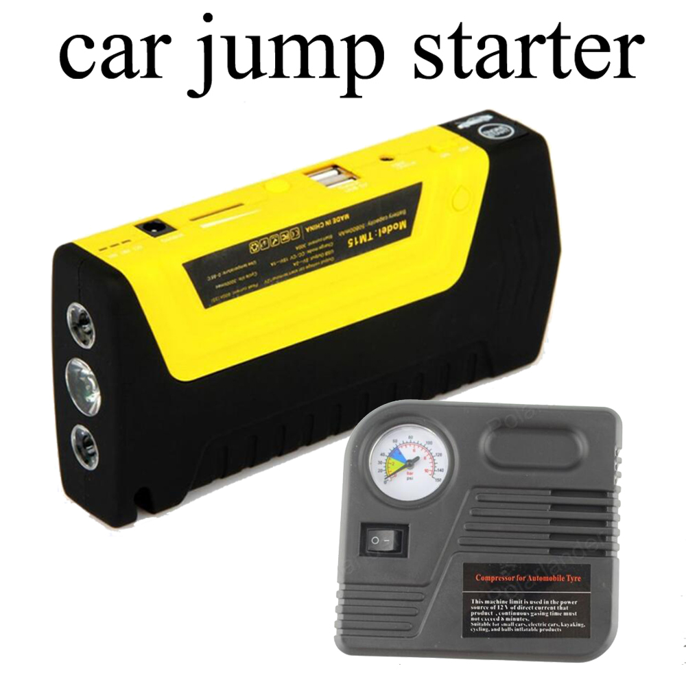 Car jump starter auto booster Mini Portable power bank with pump Emergency Start 12V Engine Multi-Function battery charger car jump starter auto engine emergency multi function jump starter power bank portable car battery charger laptop booster pack