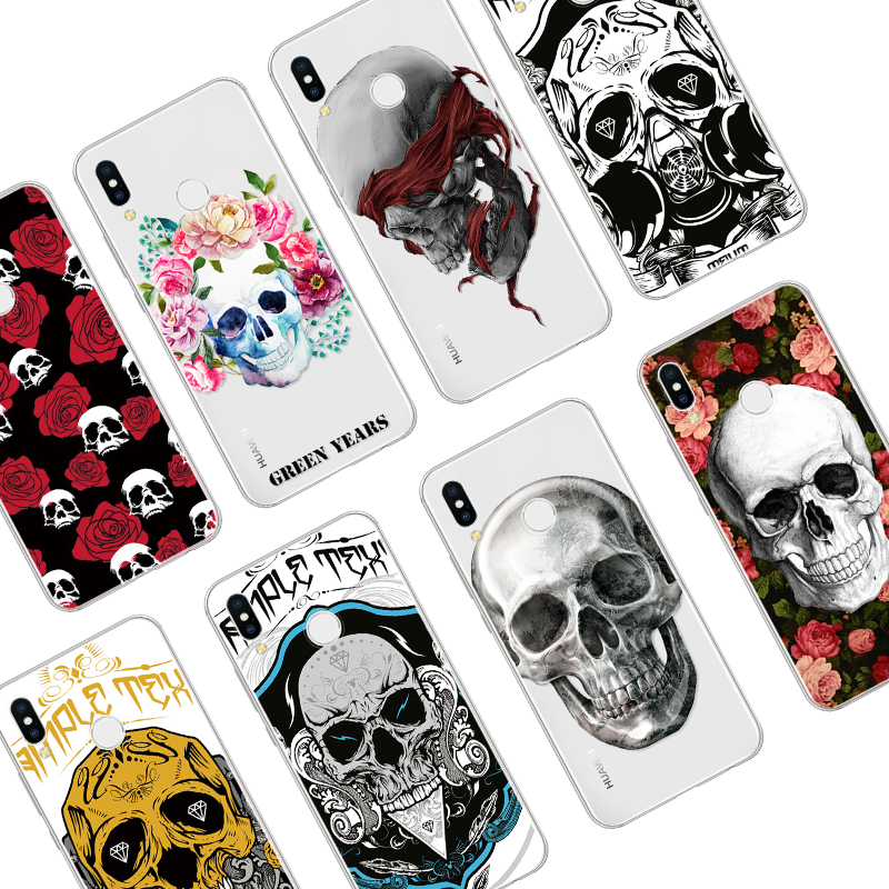 Fashion Flower Skull Soft Case For Huawei Honor 10i 20i 5C 5X 6C 6X 7A Pro 7X 8X 8C 8 9 Lite 8A View 10 20 Mate 9 Silicone Cover