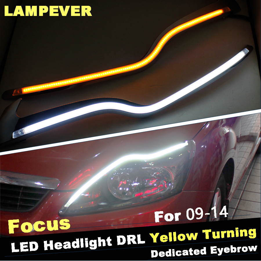 Lampever car headlight led eyebrow daytime running light drl with yellow turn signal light for ford
