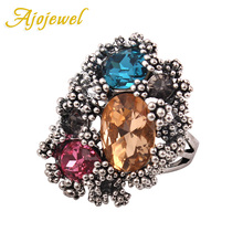 цена на Size 7-9 Free Shipping 18K White Gold Plated Big Color Crystal Stone Ring For Women