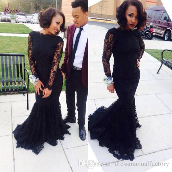 Prom Dresses 2017 Scoop Long Sleeves Black Lace Mermaid Prom Party ...