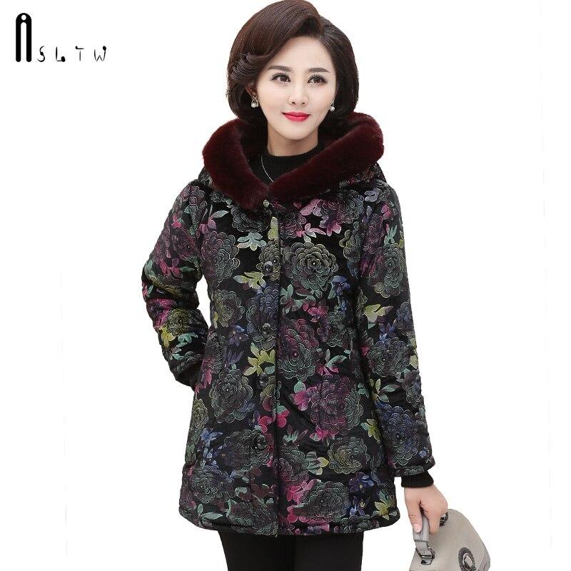 ASLTW Winter Cotton Coat Women New Arrive Plus Size Long Sleeve Coat With Fur Hooded   Parka   Plus Size Long Cotton Warm Coat Women