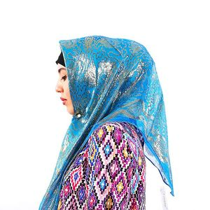 Image 1 - קידום מכירה! משי אקארד צעיף מרובע מוסלמי Hijabs צעיף אתני Ultralight צעיף חיג אב האסלאמי נשים של אביזרים