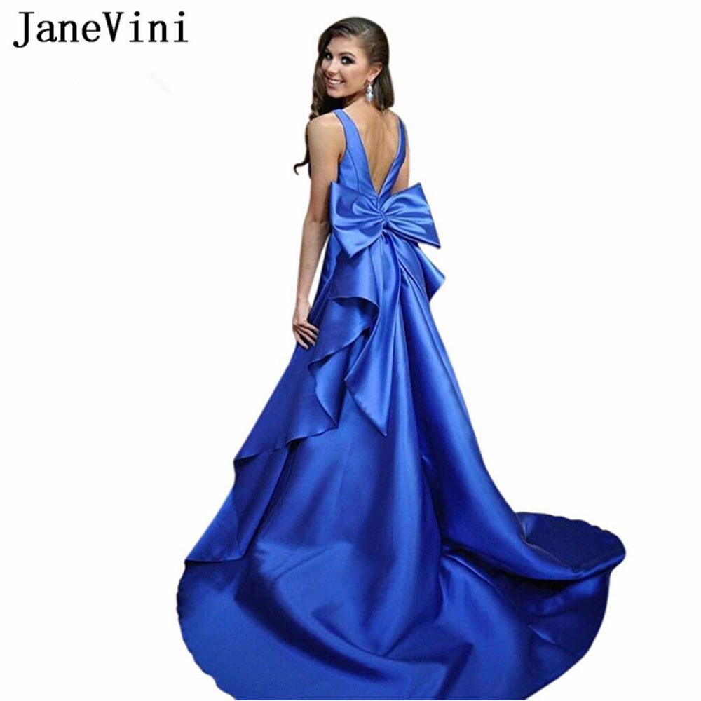 JaneVini Sexy Long Royal Blue   Prom     Dresses   Deep V Neck Sleeveless Big Bow Back Satin Plus Size Formal Party Gowns Custom Made