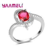 Fashionable Zircon Stones Rings For Women Bride Engagement Party 925 Sterling Silver Trendy Ring Aneis Jewellery(China)