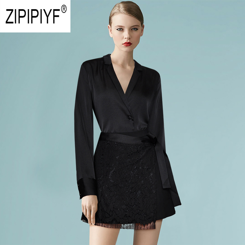 2019 Summer Office Lady Women Suits Female Long Sleeve Single-breasted Turn Down neck Black Blouse Lace Short Bow Skirts Z1304