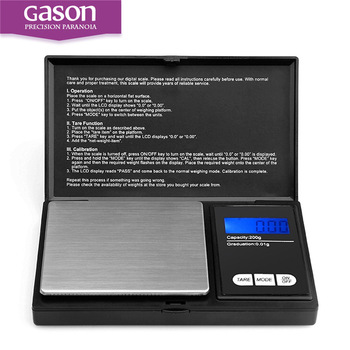 Gason Z2 Zwart Kleine Elektronische Digitale Keuken Pocket Sieraden Schaal Gewicht 200g 0.01g Weegschaal Weegschalen Goud Steelyard