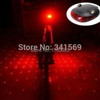 Cycling Bike Bicycle Gypsophila Laser Projector Lamp And 5 LED Rear Tail Light