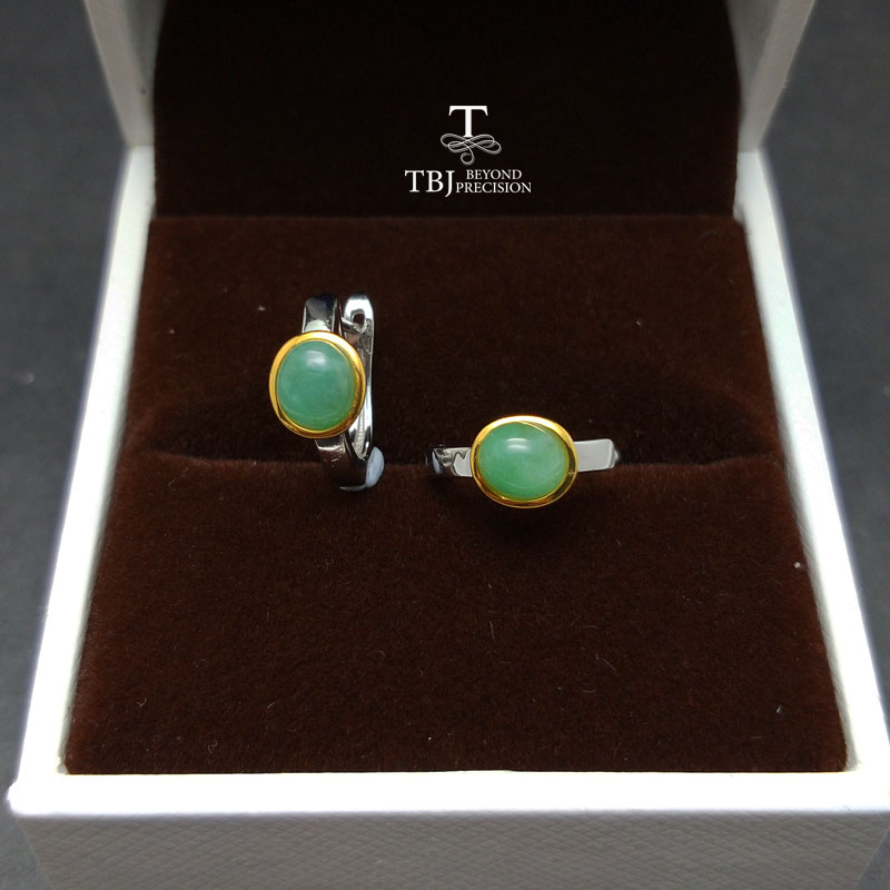 TBJ,natural green emerald gemstone earring in 2 color white and yellow in 925 sterling silver for daily wear,best gift for women