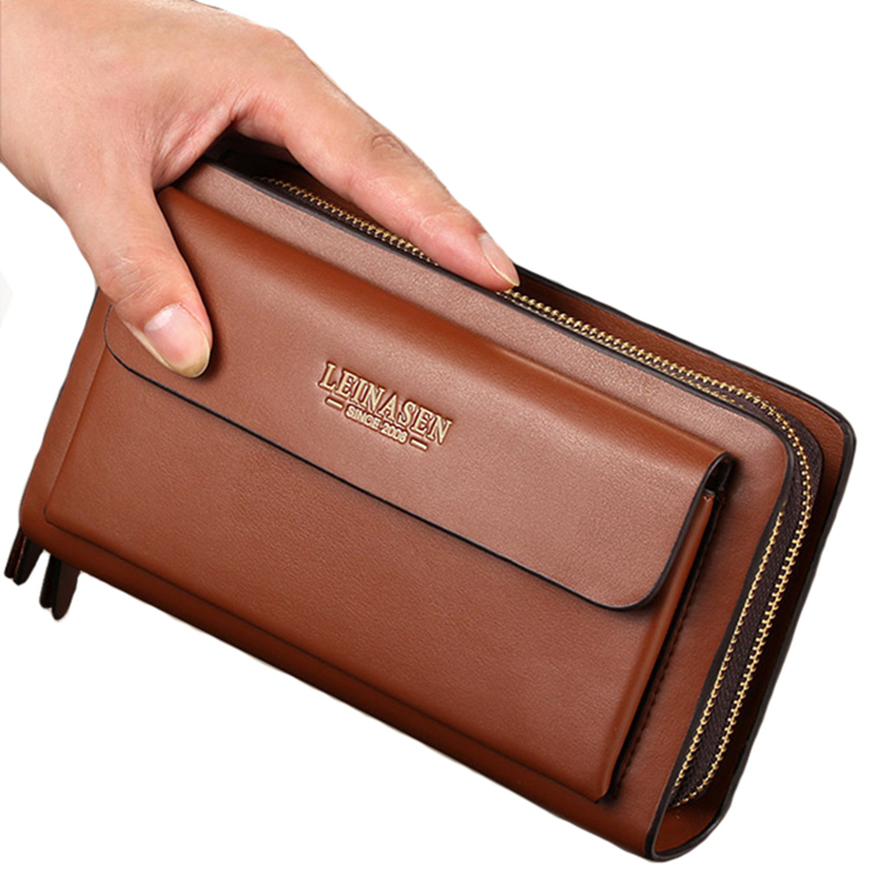 New Business Wallet Coin Pocket-Portemonnaie mit langem Lederportfolio Große Brieftasche mit großer Kapazität Kartenhalter Clutch Passport-Geldbörsen