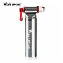WEST BIKING портативный велосипедный насос из алюминиевого сплава Сверхлегкий воздушный CO2 насос велосипедный насос Schrader& Presta мини велосипедный насос