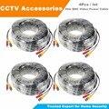 Hisecu 4 unids/lote 20 m 100 pies bnc video cable de alimentación para cctv cámara ahd dvr sistema de seguridad libre de dhl gratis
