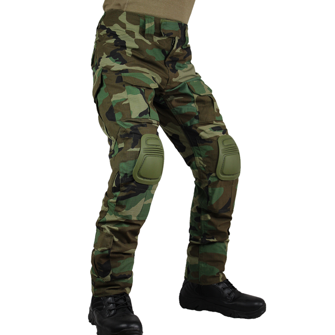 Zuoxiangru Men's Multicam Tactical Pants Multi-Pockets Military Camo Outdoor Airsoft Combat Hunting Pants With Knee Pads