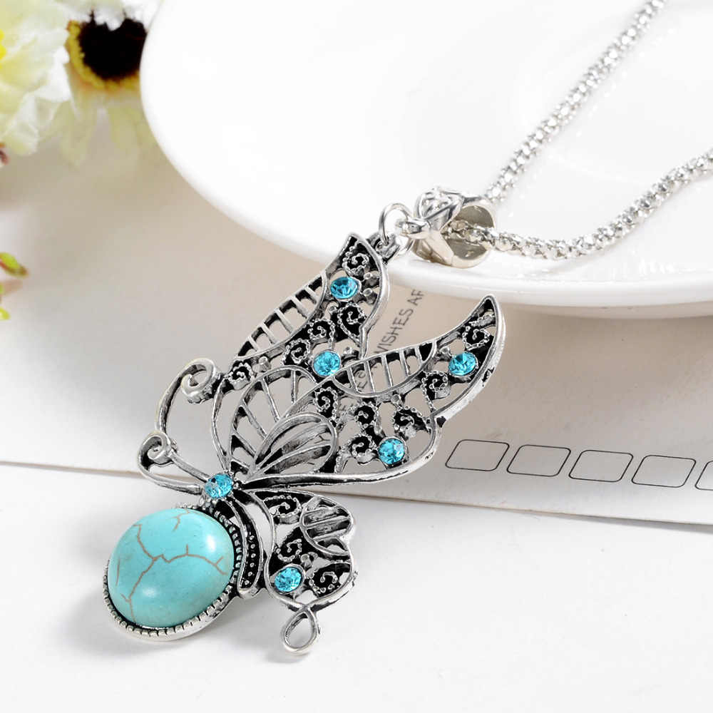 Fashion Jewelry Natural Stone Pendant Necklace Women lover Valentine's Day gifts vintage Tibetan Silver Butterfly necklaces