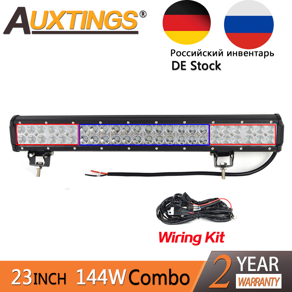 Auxtings LED Auto 23inch 144w Dual Rows IP67 Waterproof Combo Beam Straight Car LED Light Bar Offroad 4x4 Worklight With Wiring
