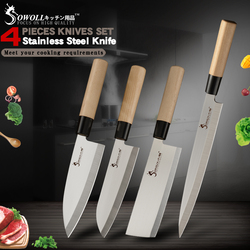 Sowoll Stainless Steel Kitchen Knife 9'' Sashimi 6.5'' Chef Santoku Chopping Knives Bone Fish Vegetable Sushi Meat Cooking Tools