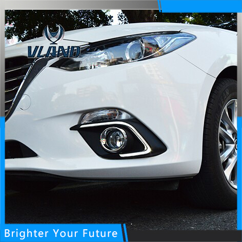 Car Accessories Waterproof Daytime Running Fog Light Lamp DRL Yellow Turn Signals For Mazda 3 Axela 2013-2016 car led daytime running light for mazda 3 axela fog lamp drl 2010 2011 2012 2013 white yellow