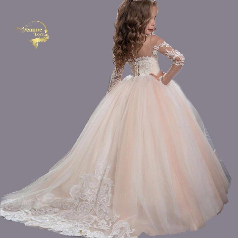 Детская одежда с длинными рукавами и кружевом цвета шампанского платья принцессы короткие Нарядные Костюмы робы De Soiree Fille