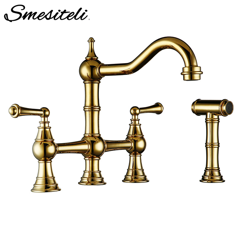 Solid Brass Kitchen Sink Mixer Tap Titanium Gold Bridge Kitchen Faucet With Side Spray Sprayer And Metal Lever Handle Sidespray